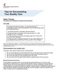 Tips for Documenting Your Quality of Care: Statin Therapy